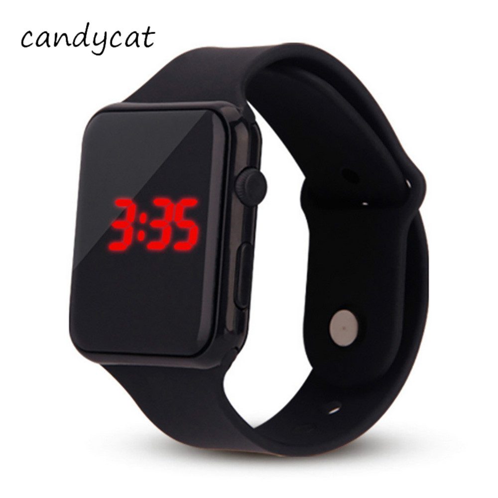 CandyCat Sports Electronic Watch Luminous Square Black-and-White New Students Men Trend Led Biao