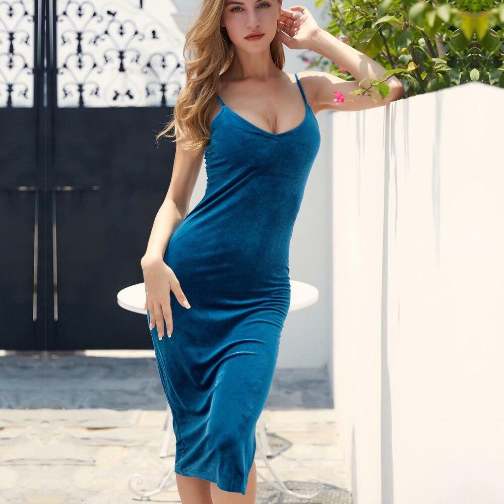 Velvet Slip V haljine za žene špagete Strap seksi jednodijelni - Ženska odjeća - Foto 3