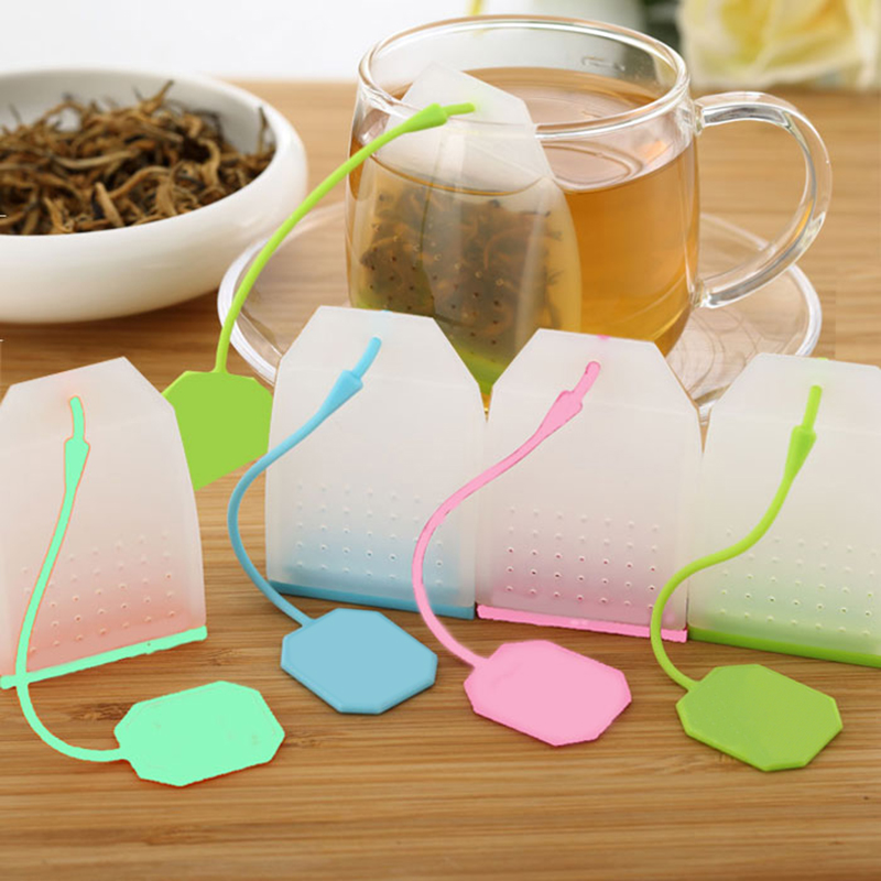 1PC Silikon Kraut Lose Tee Taschen Leeren Teebeutel String Lose Tee Blätter Filter Home Lebensmittel Grade Teebeutel Küche Werkzeuge zufällige Farbe
