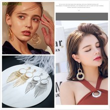 Metal Long Tassel Earrings Temperament Personality Big Hipster Exaggerated Geometric Orecchini Donna