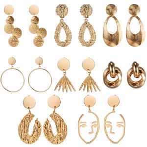 Fashionable large-capacity earrings pierced ear clips women's large alloy geometric earrings clip on earrings earrings brincos