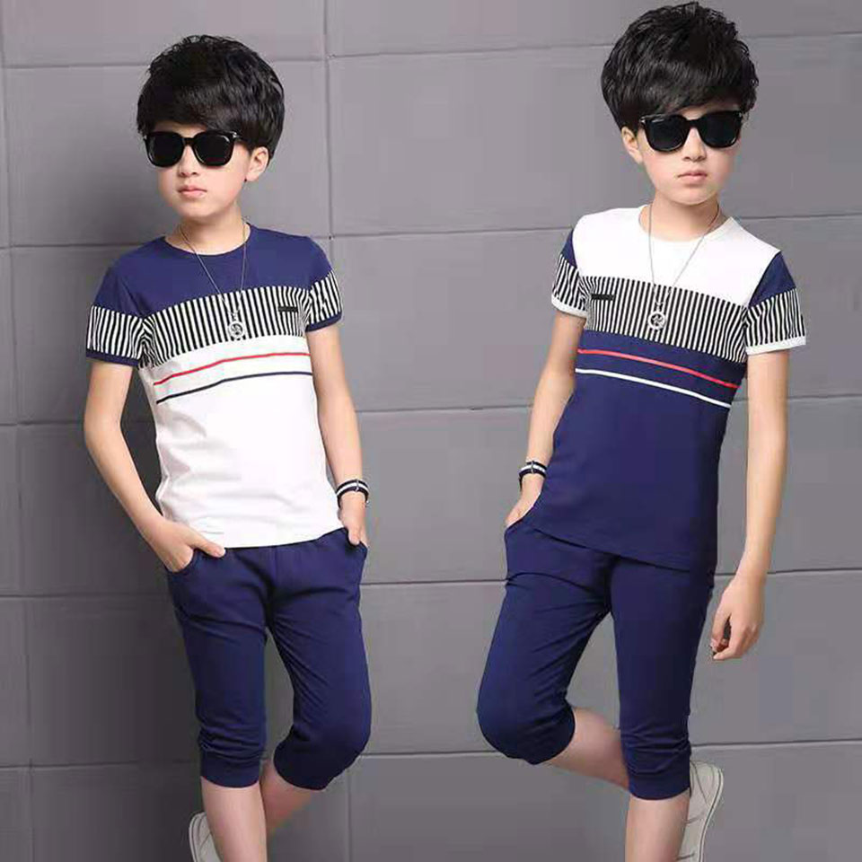 2020 New Summer Children Clothes 2 Colors Baby Boys Clothes Sets 3T 4 5 6 7 8 9 10 11 12 Years Baby Boy Summer Clothes