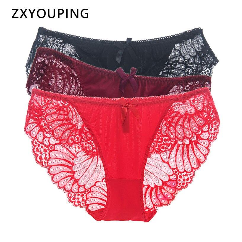4pcs Low Waist Panties Women Sexy Lace Underwear Soft Comfort Breathable Briefs Seamless Translucent Underpants M-3XL Plus Size
