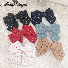 Three Levels Chiffon Hair Bow Hairgrips Wave Point Clips High Quality Big Large Barrette For Women Girls Accessories
