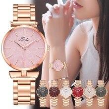 Wristwatches Women Tadi Sleek Minimalist Calendar Stainless Steel Mesh Belt Woman Quartz Watch New Wristwatches For Ladies