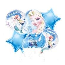 Juego de globos de aluminio con dibujos animados, decoración de fiesta de cumpleaños, princesa Elsa de Disney, decoración del hogar, 5 uds.