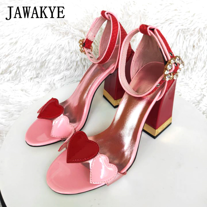 2018 New red heart Women Sandals Crystal Chunky High Heels Summer Shoes Woman Ankle Buckle Strap Pink Leather Sandalias mujer-in High Heels from Shoes    1