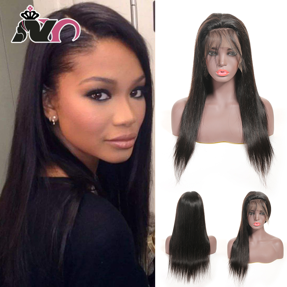 NY Hair 13*4 Lace Front 100% Human Hair Wigs Indian Straight Pre Plucked Baby Hair 8- 28 Inch Non Remy Hair Lace Frontal Wigs