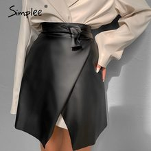 Simplee Casual black women asymmetrical leather skirt sash Sexy slim mini skirt female High street skirts ladies spring summer