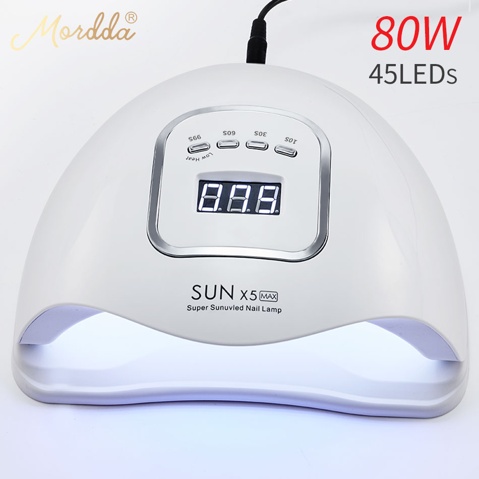 MORDDA Sun X5 MAX Ice Lamp 80W Nail Gel Lamp For All Gel Varnish UV LED Nail Dryer With LCD Display For Nail DIY Manicure Tools