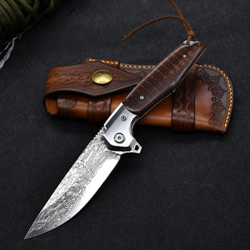 NEW Damascus VG10 steel folding knife High quality knife High hardness outdoor camp Into the Wild hunting knife rescue tool EDC 2