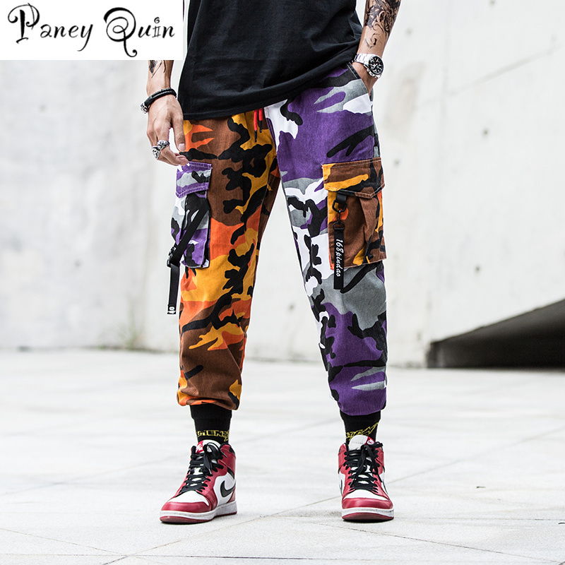 Mens Fashion Splice Joggers Pants Camo Cargo Camouflage Pants Men Camo Pants Mens Trousers US Size M-XXL Windbreaker Pants