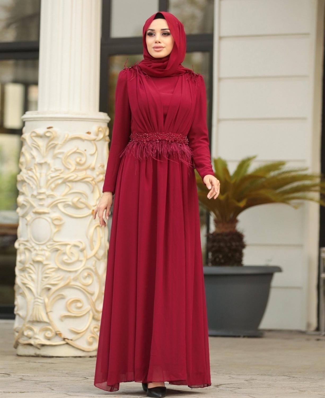 فستان سهرة مسلم 2019 بأكمام طويلة باللون الأحمر على شكل حرف A من