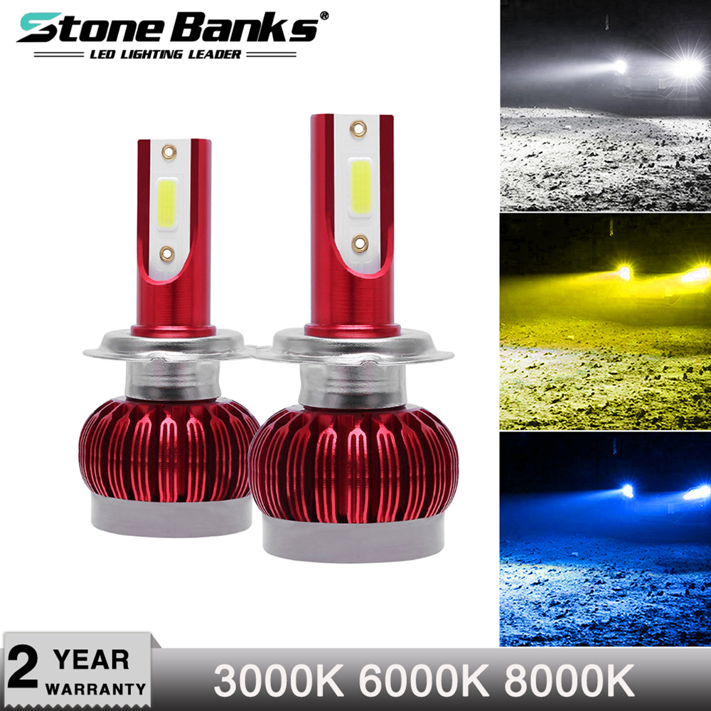 Stone Banks Car <font><b>LED</b></font> Headlight Bulbs H7 H4 H1 H11 <font><b>H3</b></font> HB4 H8 HB3 H16 H13 HB1 HB5 Hi/Lo Beam <font><b>20000LM</b></font> Car Auto Lamp Fog Lights 12V image