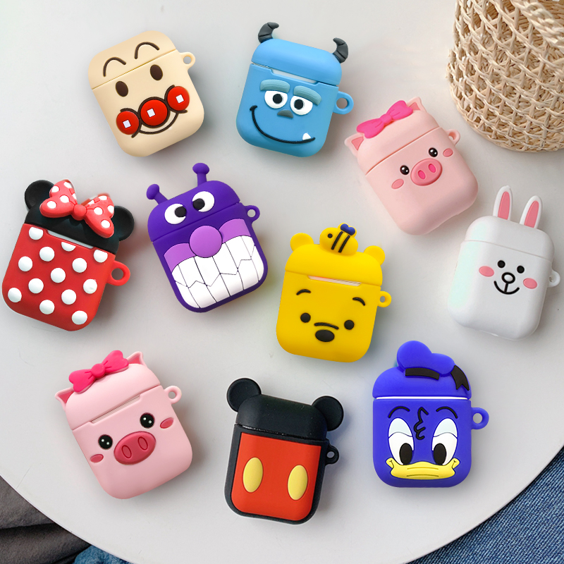 For AirPods 1 2 Case Cute Cartoon Protective Cover For AirPods 1 2 Wireless Earphone Cases Headphone Sleeve Pouch With Hook