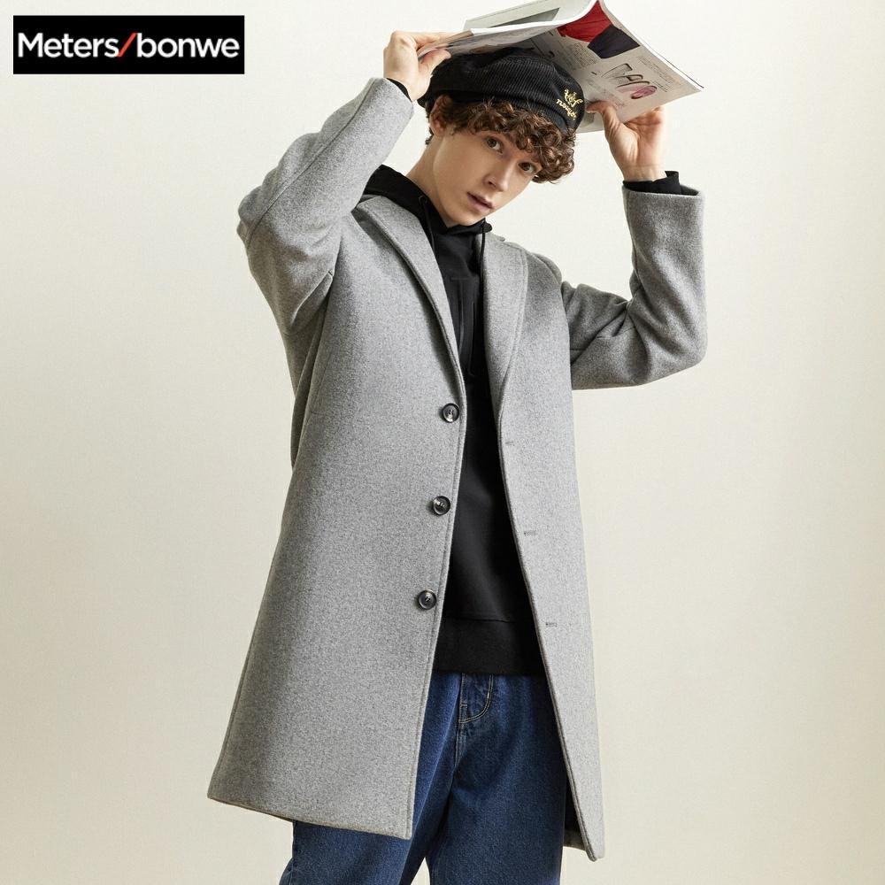 Metersbonwe Winter Woolen Jacket Men's High-quality Wool Coat Casual Slim Vintage Business wool coat Men's Trench Coat 239433