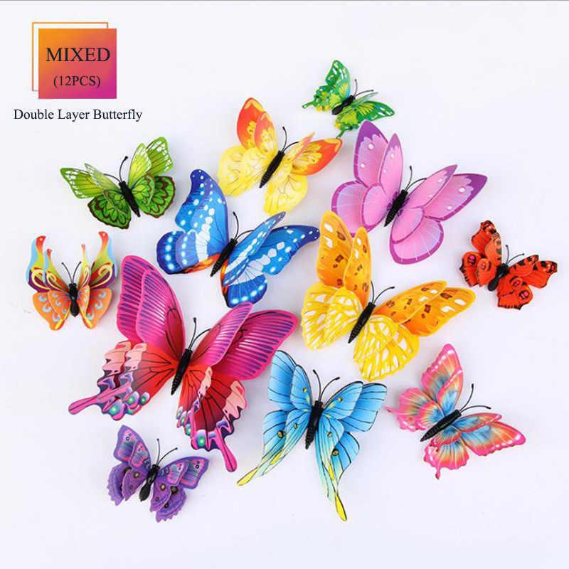 Schmetterlinge Wand Aufkleber wohnkultur Multicolor Doppel Schicht 3D Schmetterling Aufkleber 12 Teile/los für dekoration auf die wohnzimmer