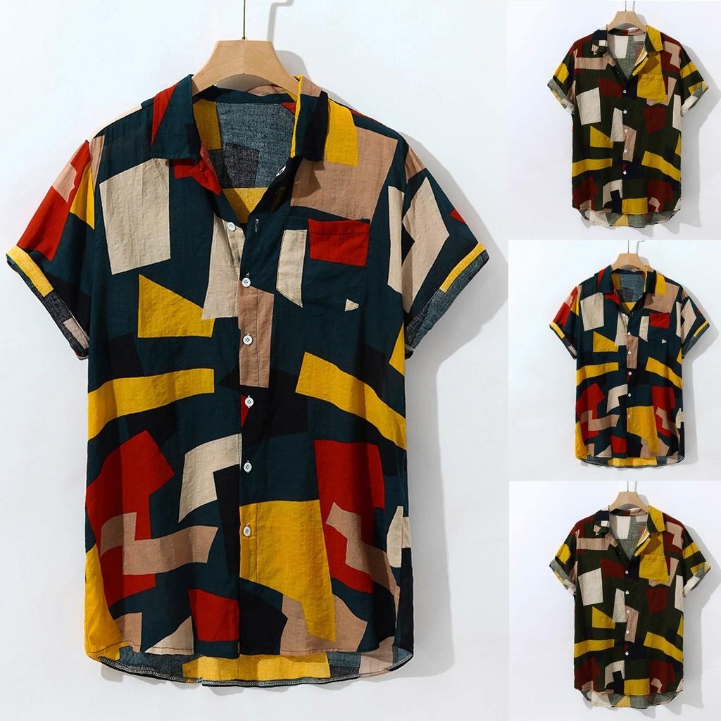 Mens Striped Short Sleeve Shirt Button Down Hawaiian T Shirt Summer Casual Tops