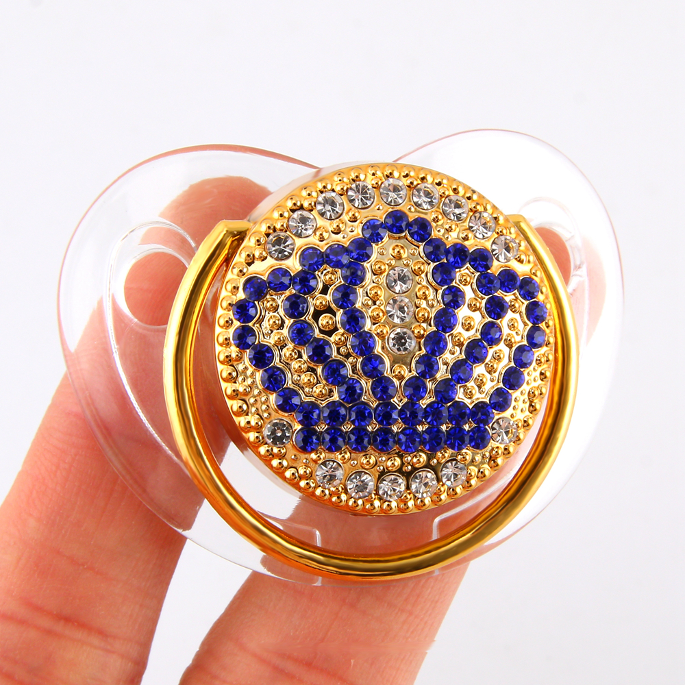 Luxury Transparent Crown Diamond Baby Bling Pacifier Baby Registry Gift Soother Newborn Unisex Baby Shower Gift