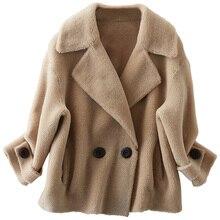 Otoño invierno abrigo mujer ropa 2020 abrigo de piel auténtica de lana 100% abrigo coreano Vintage oveja Shearling Suede forro tapas ZT3779