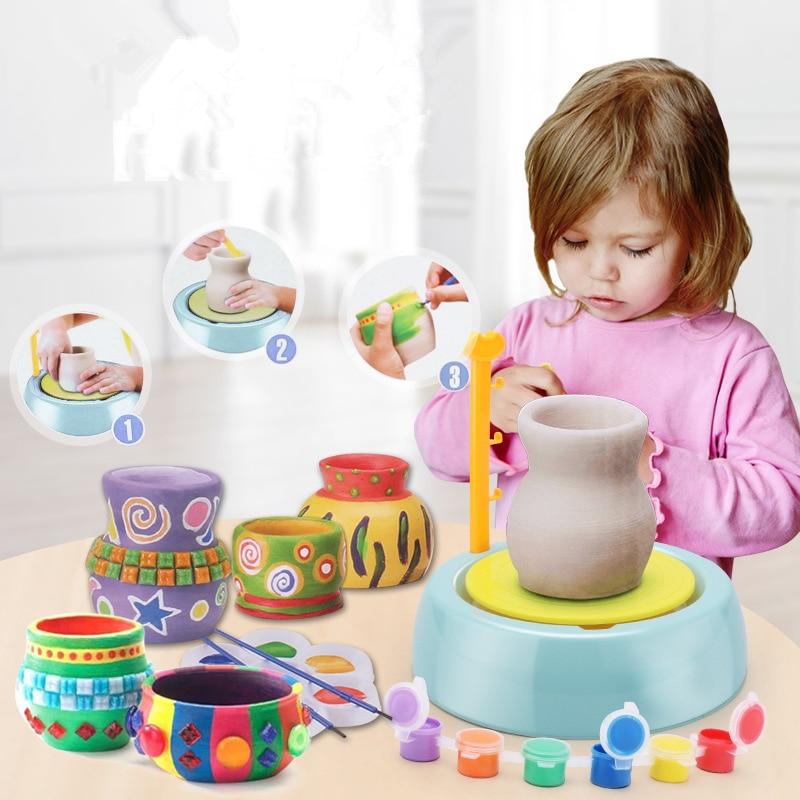 Mini Portable DIY Handmake Ceramic Pottery Wheel Machine Children Craft Electric Toys Kids Arts Crafts Educational Toys Gifts