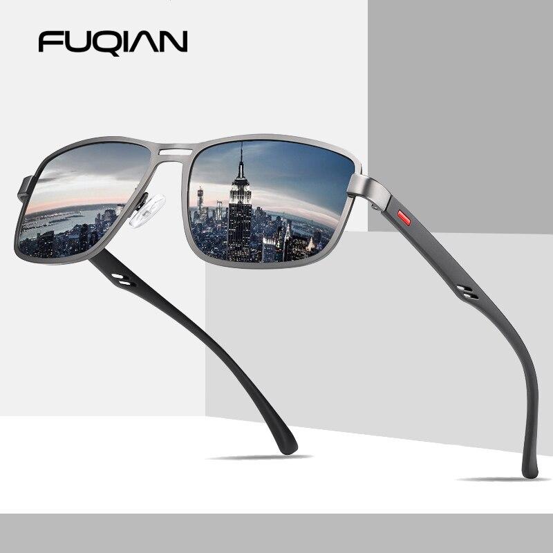 FUQIAN 2019 Luxury Square Polarized Men Sunglasses Retro Rectangle Metal Male Sun Glasses Fashion Driving Eyewear UV400