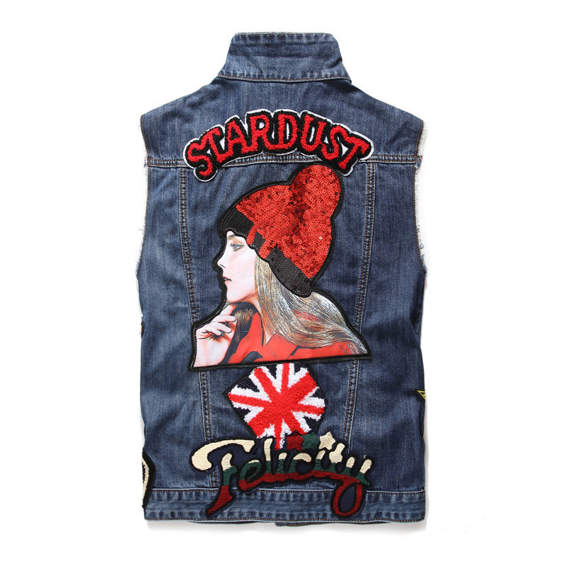 Summer Fashion 2020 Mens Vest Vintage Embroidery Slim Fit Sleeveless Mans Waistcoat Casual Single Breasted Jean Colete Masculino