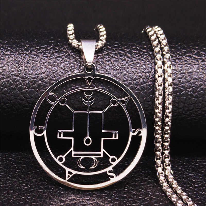 2020 Demon uszczelnienie ze stali nierdzewnej stalowy łańcuch naszyjnik srebrny kolor szatan VASSAGO oświadczenie naszyjnik kobiety/mężczyźni biżuteria gargantilha N3064