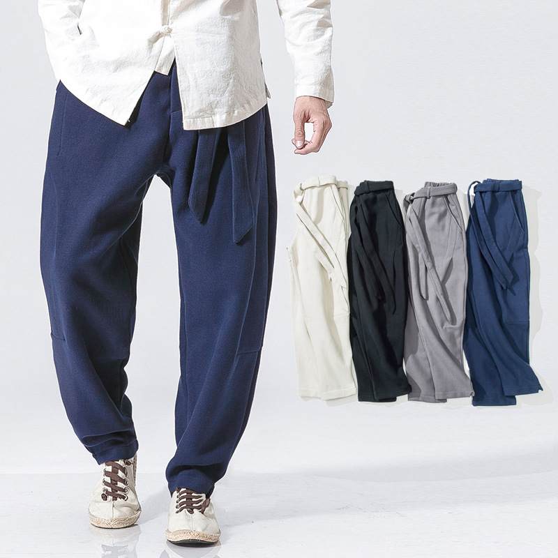 Chinese-style Frog Flax Casual Pants Men Ethnic-Style Wide-Leg Casual Trousers Autumn & Winter Cotton Linen Solid Color Pants