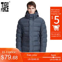 TIGER FORCE 2020 New Men's Winter Jacket Dark gray long Thick Business Casual Lining