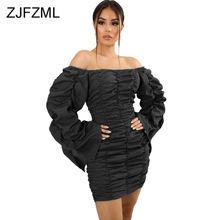Плиссированные мини платья с открытыми плечами на осень женское