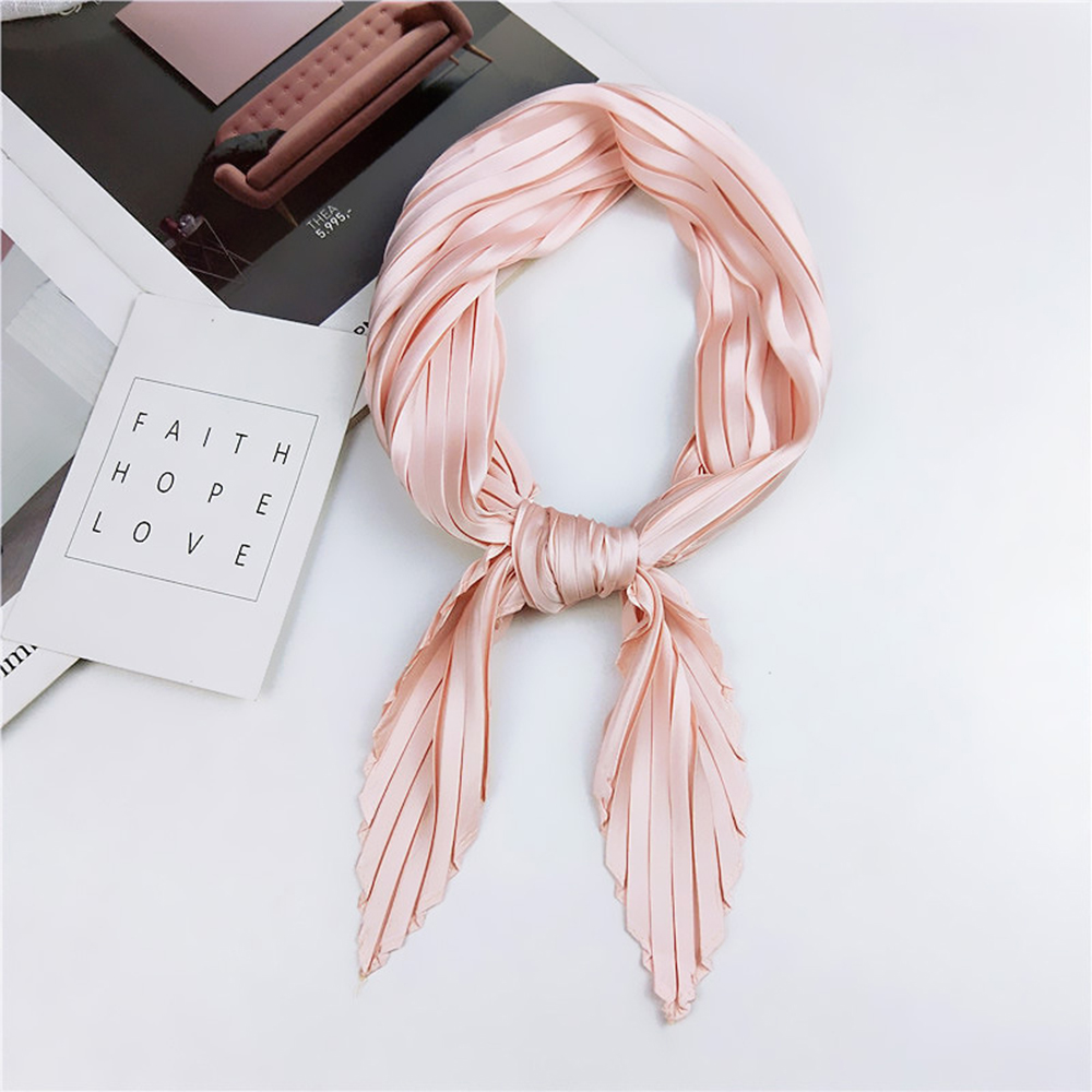 55*55cm Solid Pleated Stretchy Square Crinkle  Satin Small Neck Scarf Women Fashion Decoration Crumple Neckwear Handkerchief