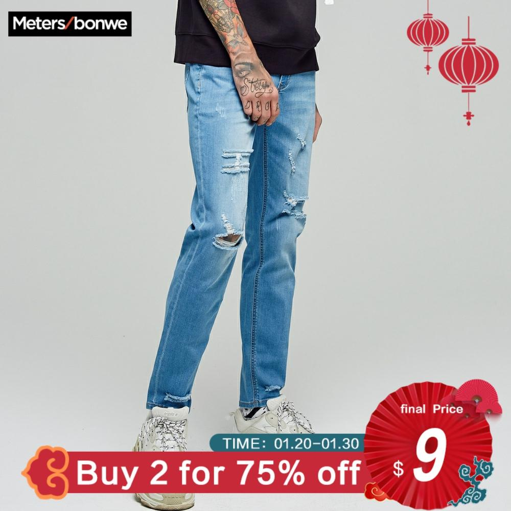 Metersbonwe Straight Hole Jeans Men 2019 Spring Autumn New Casual Youth Trend Slim Jeans Mens  Pants Men Trousers