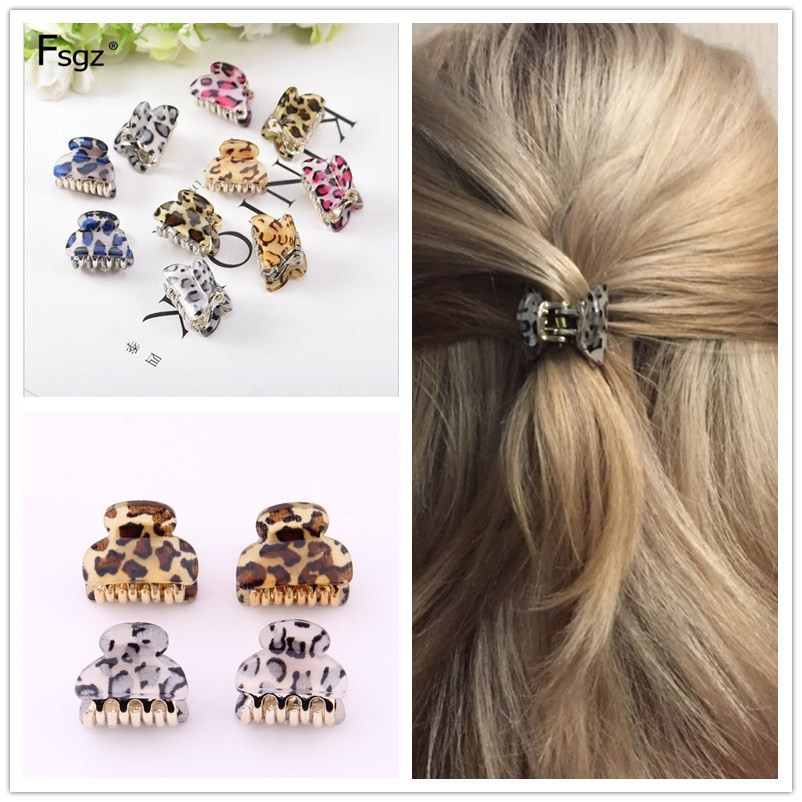2020 Newest Brand Hair Clip Accessories  Leopart Print Plastic Mini Hair Claw For Girls Fashion Gold Crab For Hair Tins Clamps