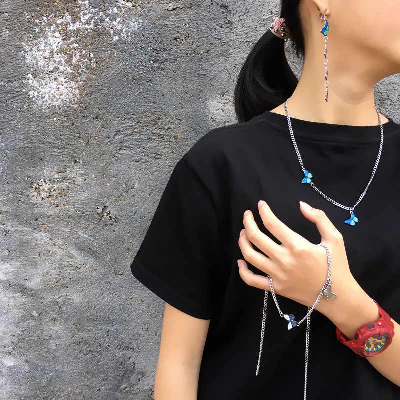 Egirl نمط اثنين الفراشات قلادة قلادة Harajuku نمط المعادن الملونة قلادة المرأة موضة الاتجاه اكسسوارات فتاة هدية