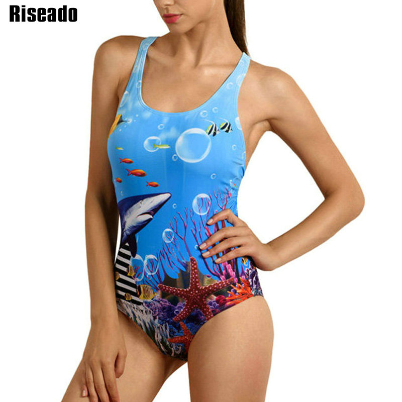 Riseado Sport 2020 One Piece Swimsuit Competitive Swimwear Women Swimming Suit Digital Printing Racer Back Bathing Suits(China)