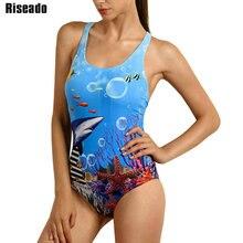 Riseado Sport 2020 jednoczęściowy strój kąpielowy konkurencyjne stroje kąpielowe kobiety strój kąpielowy druk cyfrowy Racer powrót stroje kąpielowe
