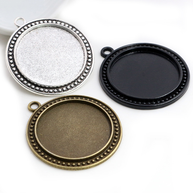 5pcs/Lot 30mm Inner Size 3 Fashion Colors Plated Classic Style Cabochon Base Setting Charms Pendant Tray