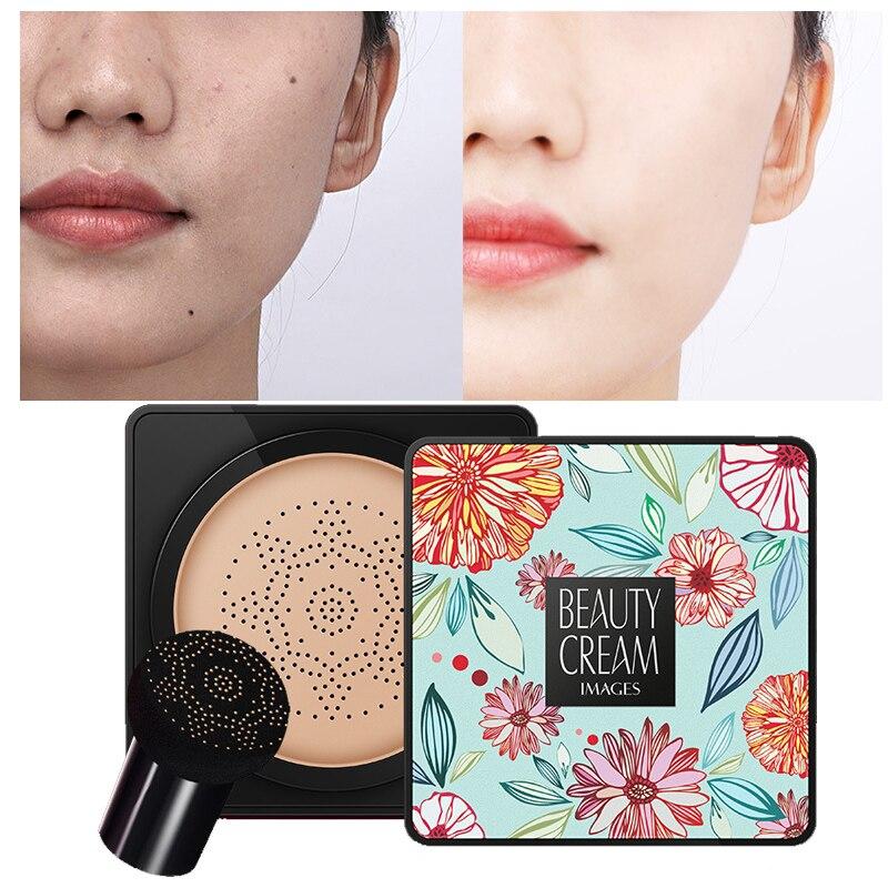 BB Air Cushion Foundation Korean Mushroom Head CC Cream Concealer Whitening Makeup Cosmetic Waterproof Brighten Face Base Tone M