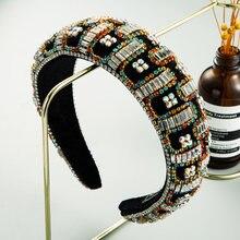 Роскошная повязка на голову в барочном стиле с красочными кристаллами