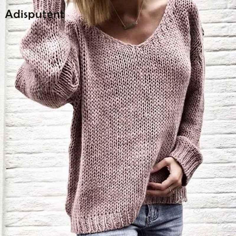 Disputent 2019 V образным вырезом однотонные женские свитера пуловеры Свободные трикотажные осенне-зимняя одежда повседневные пуловеры плюс размер Pull