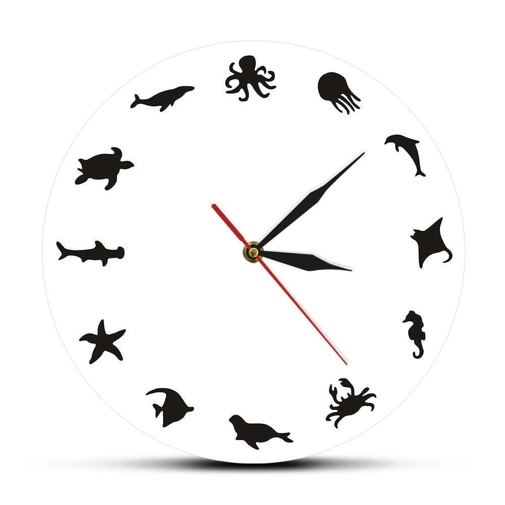 Sea Animals Design Wall Clock Octopus Iconic Silhouette Marine Sea Horse  Wall Art Dolphin Ocean Animals Home Decorative