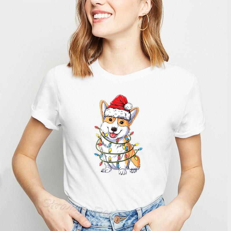 Cute Corgi Santa Women T-Shirt Corgi Wear Christmas Tree Lights Female Clothes Xmas Gifts Tops Kawaii Dog Animal Printed T Shirt