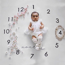 Infant Baby Milestone Blanket Photo Photography Prop Blankets Backdrop Cloth Calendar Bebe Boy Girl Photo Accessories 100x100cm(China)