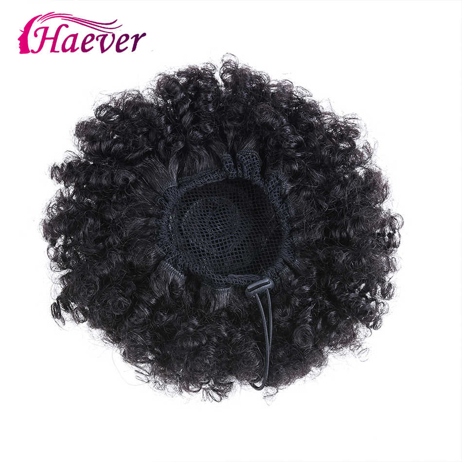 Haever Short Kinky Curly Hair Bun Drawstring Ponytail Wrap Hairpiece Peruvian Remy 100% Human Hair Extensions Ins Clip In