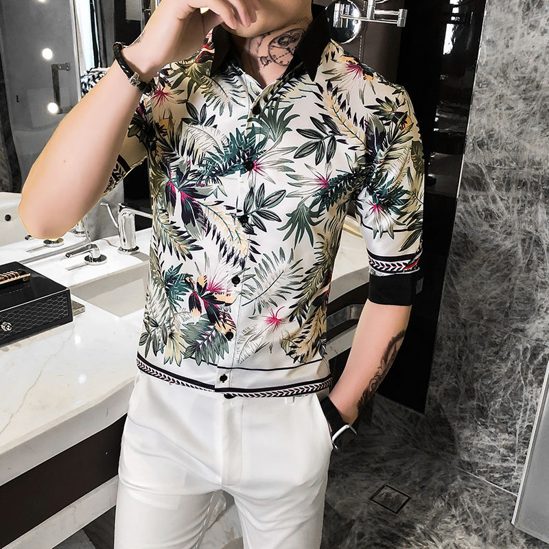 Chemise Homme 2020 Summer Leaf Print Hawaiian Men Shirt Night Club Streetwear Social Shirts Casual Slim Fit Short Sleeve Shirts