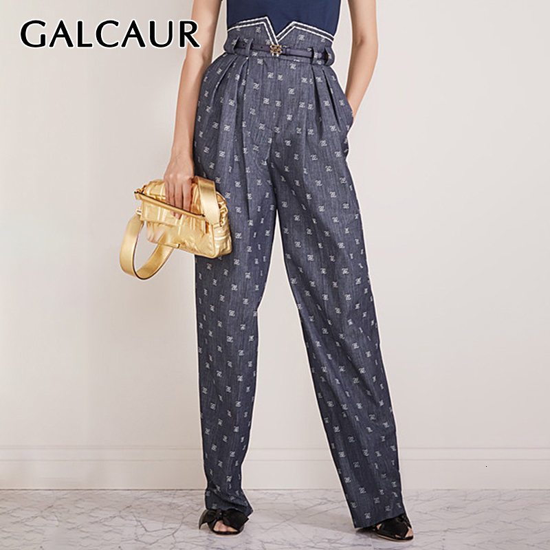 GALCAUR Vintage Embroidered Denim Pants Women High Waist Lace Up Tunic Hit Color Large Size Pocket Jeans Female 2020 Clothes New