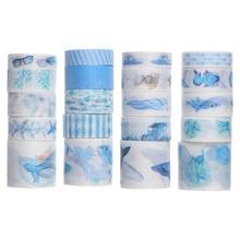 20pcs Decorative Scrapbook Tapes DIY Sea Prinnting Tapes Adhesive Tapes