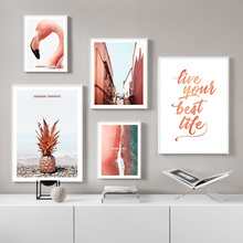 Landscape Pink Building Flamingo Pineapple Sea Nordic Posters And Prints Wall Art Canvas Painting Pictures For Living Room