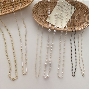 Kpop Retro Transparent Beaded Chain Necklace Baroque Pearl Mask Glasses Necklace For Women Boho Aesthetic Jewelery Wholesale
